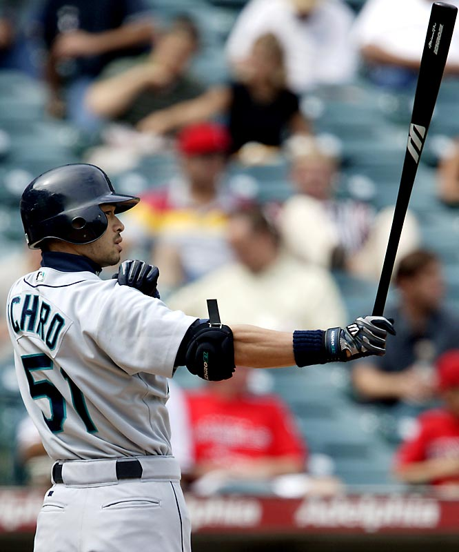Suzuki moved to the U.S. after a nine-year stint with the Orix Blue Wave of the Japanese Pacific League, joining the Mariners and becoming the first position player from Japan in major league history. He won his second AL batting title in 2004 when he hit .372. His 262 hits that season broke George Sisler's long-standing single-season record of 257. He earns it by just a shade over Randy Johnson.  Runner-up: Randy Johnson  Worthy of consideration:  Trevor Hoffman and Bernie Williams