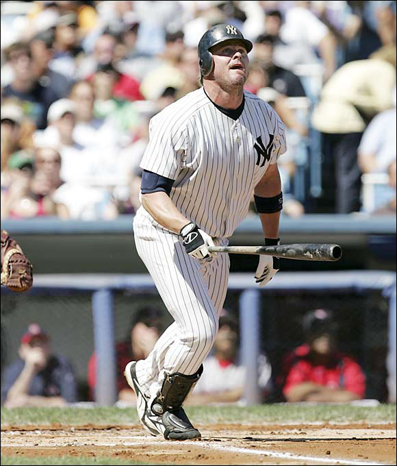 Jason Giambi blasted a solo HR for the game's only run in a critical late-season New York win at Yankee Stadium that gave the second-place Bombers a series victory against the first-place Red Sox. The Yankees got off to a horrendous start in 2005, but eventually caught the Red Sox down the stretch, eventaully clinching their eighth straight AL East title at Fenway Park on the next-to-last day of the season.