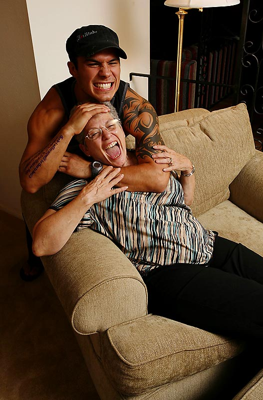Roger Huerta, a lightweight in the Ultimate Fighting Championship, visits with his mother, Jo Ramirez, who legally adopted him in 2002.