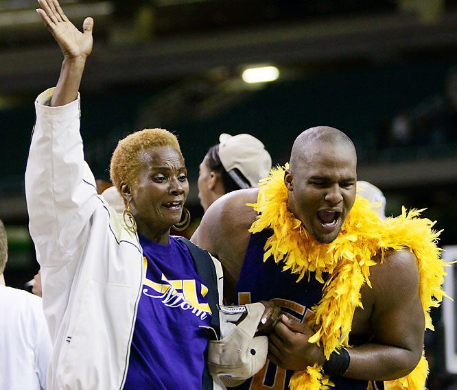 "Glen ""Big Baby"" Davis had reason to celebrate with his mother, Tonya Davis, as he helped lead LSU to their first Final Four appearance in 2006. He now plays for the Boston Celtics."