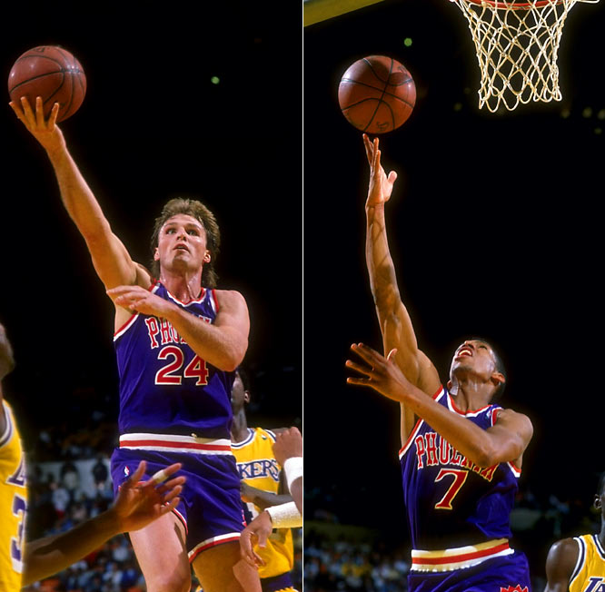 <i>1987-88</i>: 28-54 <br><i>1988-89</i>: 55-27 (27 more wins)<br><br>Following their worst season since the '68-69 expansion year, GM/coach Cotton Fitzsimmons signed free agent Tom Chambers (Sonics), left, and acquired Kevin Johnson (Cavs), right, in a trade for Larry Nance. They joined with Eddie Johnson, Armon Gilliam, Jeff Hornacek and rookie Dan Majerle to spur a revival that carried Phoenix all the way to the Western finals.
