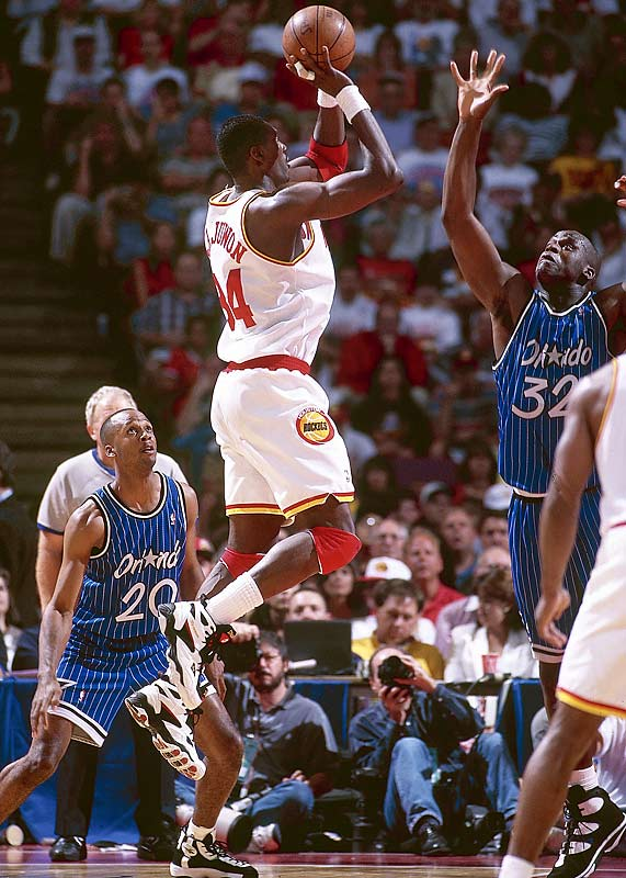 The Rockets swept the Orlando Magic in the NBA Finals to bring home their second consecutive title with Olajuwon repeating as Finals MVP. Houston became the first team in league history to defeat the No. 3, No. 2 and No. 1 seeds in the same postseason. Olajuwon's numbers from the 1995 playoff averages remain astounding: 33.0 points on 53.1 percent shooting, 10.3 rebounds, 2.8 blocked shots.