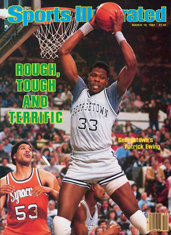 After slumping to a 22-10 season during Ewing's sophomore year, the Hoyas rebounded with another banner season in 1983-84: finishing with a 33-4 overall record, a Big East championship and a return trip to the Final Four. At the Seattle Kingdome, Georgetown defeated Kentucky and Houston to bring home the program's first national championship, with Ewing logging 18 points, 18 rebounds and an eye-popping 15 blocked shots over two games to collect Most Outstanding Player honors.