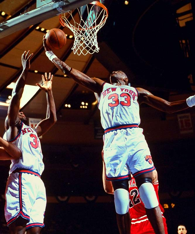The Knicks won the Atlantic Division title during the 1991-92 season with a 51-21 record, advancing to meet the Bulls in the Eastern Conference Semifinals. With New York facing elimination in Game 6, Ewing spirited the Knicks to an emotional 100-86 victory with 27 points and eight rebounds while playing on a terrible ankle sprain. The center drew comparisons to Willis Reed for his courage -- but the Knicks would ultimately bow to the Bulls in Game 7.