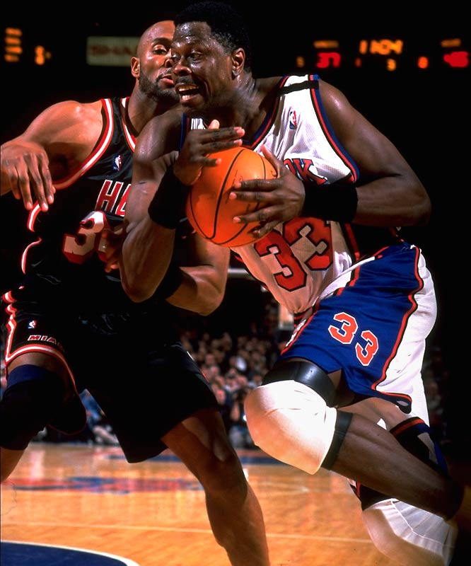 Ewing's numbers declined into the late '90s as the postseason disappointments piled up. But after barely qualifying for the playoffs as a No. 8 seed during the lockout-shortened 1999 season, the Ewing-led Knicks got a surprising upset of the top-seeded Miami Heat in the first round, even though he was fighting an Achillies tendon injury. New York made an unlikely run to the Finals -- with Ewing's injury ultimately forcing him to the sidelines -- but fell to the San Antonio Spurs in five games.
