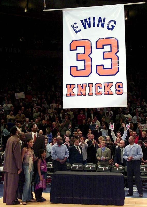 Ewing returned to Madison Square Garden when the Knicks retired his No. 33 jersey in an emotional ceremony on Feb. 28, 2003. His legacy in New York remains complex. While some fans criticize his postseason failures and aloof personality, many others appreciate his tireless work ethic and the excitement his presence returned to the Garden.