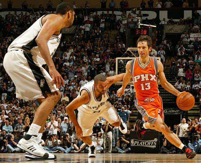 Phoenix point guard Steve Nash beats Tony Parker off the dribble.