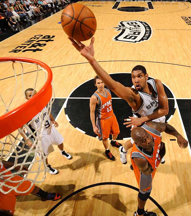 The long arm of San Antonio's Tim Duncan stretches for a finger-roll as Shaquille O'Neal defends.