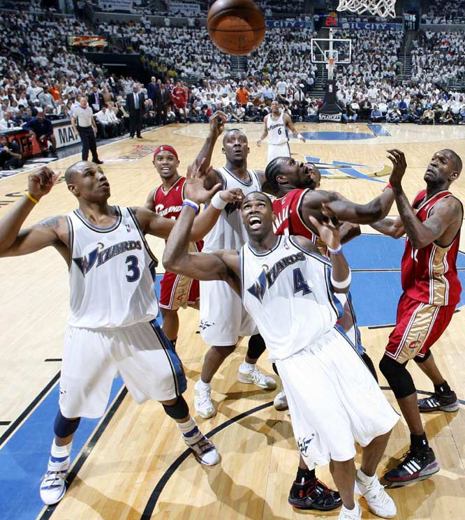 Antwan Jamison (4) and teammate Caron Butler try to grab a rebound during Game 4.