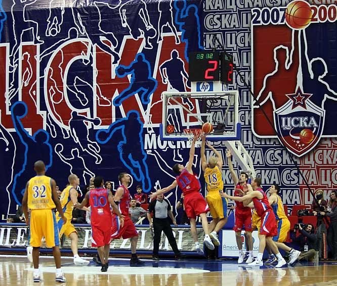 Khimki forward Anton Ponkerashow drives to the goal for two of his game-high 17 points against CSKA in a Russian Superleague game. But CSKA rallies in the fourth quarter for a 68-64 victory, spurred by Langdon's team-high 16 points.