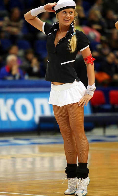 A cheerleader performs a routine during a break in play in CSKA Moscow's victory over Khimki.