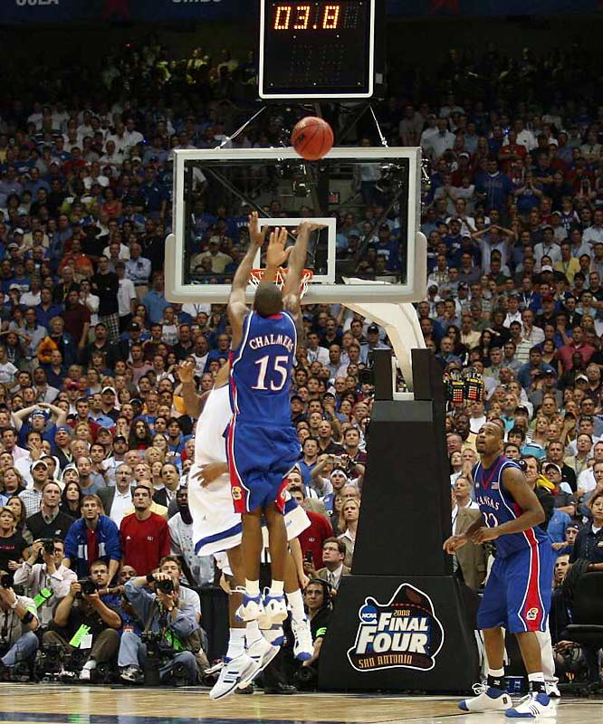 Mario Chalmers' three-pointer in the final seconds tied the game at 63 and Kansas went on to win in overtime.