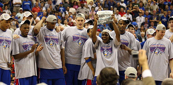 No doubt someone believed in the Jayhawks:  The Lawrence Journal World had the front page of the paper all set to celebrate the victory.