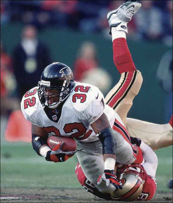 Anderson was little known when he was selected by the Falcons and remained that way until the 1998 season - despite having rushed for 1,000-plus yards in each of his previous two seasons. The '98 season, though, was special -- he had an NFL-record 410 carries and his 1,846 yards -- the ninth-best total in NFL history. He helped the Falcons to Super Bowl XXXIII and rushed for 96 yards on 18 carries in the 34-19 loss to Denver. The former Utah star used his anger at falling to the 201st pick as a motivating factor throughout his career.