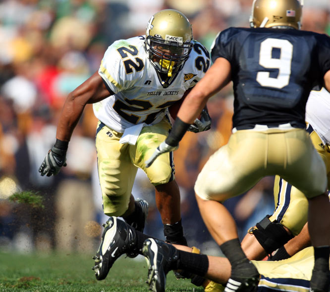 "Remember the name Tashard Choice. Before the juniors declared, he was projected as a possible first-round pick.  Now he's projected as a third.  He has recorded at least 100 yards in every game that he wasn't injured in the last two years and was the classic ""gets stronger as the game goes on"" back.  No problem for him to get 30 carries in a game.  Considering how fragile running backs are and how good backs are always available past the first two rounds, someone is going to get a massive steal.<br><br>Richard <br>Atlanta"