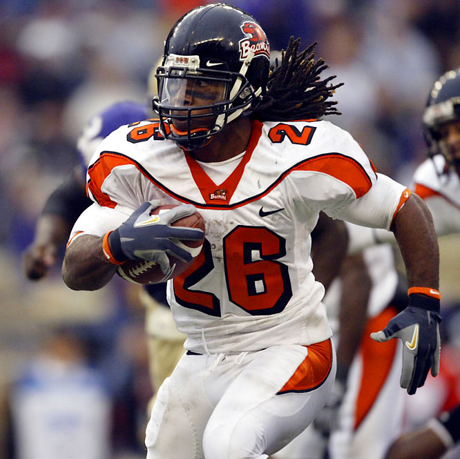 I feel that Yvenson Bernard's statistics in non-injured years bear out that he could have similar numbers to Rams running back Steven Jackson (another Beaver). In general, I think Mike Riley has done an outstanding job producing reliable pro players and Bernard will be no different. This draft is deep in RBs, and Bernard is rarely talked about, but I think that he'll have a great chance to outperform his peers.<br><br>Craig Taylor<br>Ottawa, Ontario, Canada