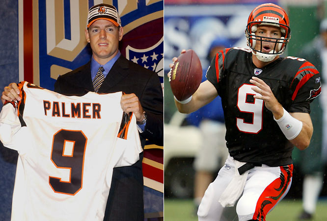 The Bengals tabbed Palmer as their quarterback of the future after the Fresno native won the Heisman Trophy during his senior year at USC. Palmer has enjoyed a decorated career despite a horrific knee injury suffered during the 2005-06 postseason, setting a number of franchise passing records, making a pair of Pro Bowls and leading Cincinnati to its first division title since 1990.