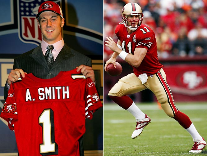 Smith became the first quarterback to lead a non-BCS school to a victory in a BCS bowl during the '04 season, spiriting Utah to a 12-0 record capped by a dominating performance against Pitt in the Fiesta Bowl. But since joining the 49ers as the top pick in the '05 draft, Smith's inconsistency under center has proven maddening to Bay Area football fans.