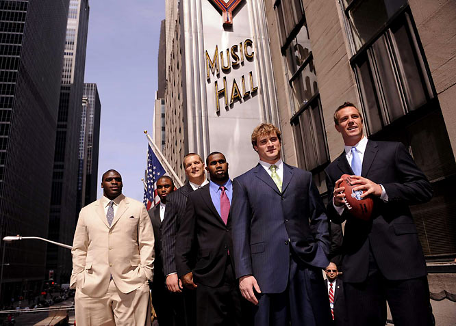 (Left to right) Glenn Dorsey, Vernon Gholston, Jake Long, Darren McFadden, Chris Long and Matt Ryan stand on the marquee of Radio City Music Hall.