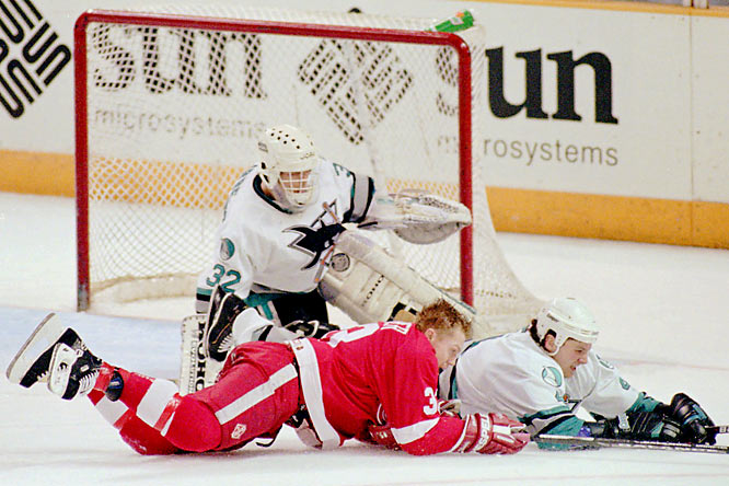 A third-season expansion team that had staggered to a mindbogglingly bad 11-71-2 mark the previous year, the Sharks stunned Steve Yzerman's proud Wings, who had scored a league-leading 356 goals and were expected by many to win the Cup. Arturs Irbe, the little Sharks netminder (5-8, 190), came up huge as San Jose took advantage of Detroit miscues to win in seven games.