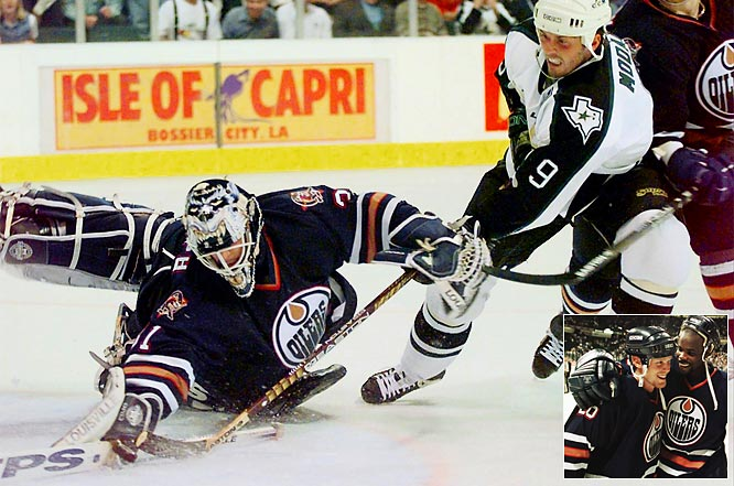 Still building toward their 1999 Stanley Cup, the second-seeded Stars (104 points) suffered a bitter seven-game setback at the hands of the Oilers, who were making their first playoff appearance after a four-year absence. Curtis Joseph sparkled in net for Edmonton, who got the series-winning goal from Todd Marchant, inset left, in overtime.