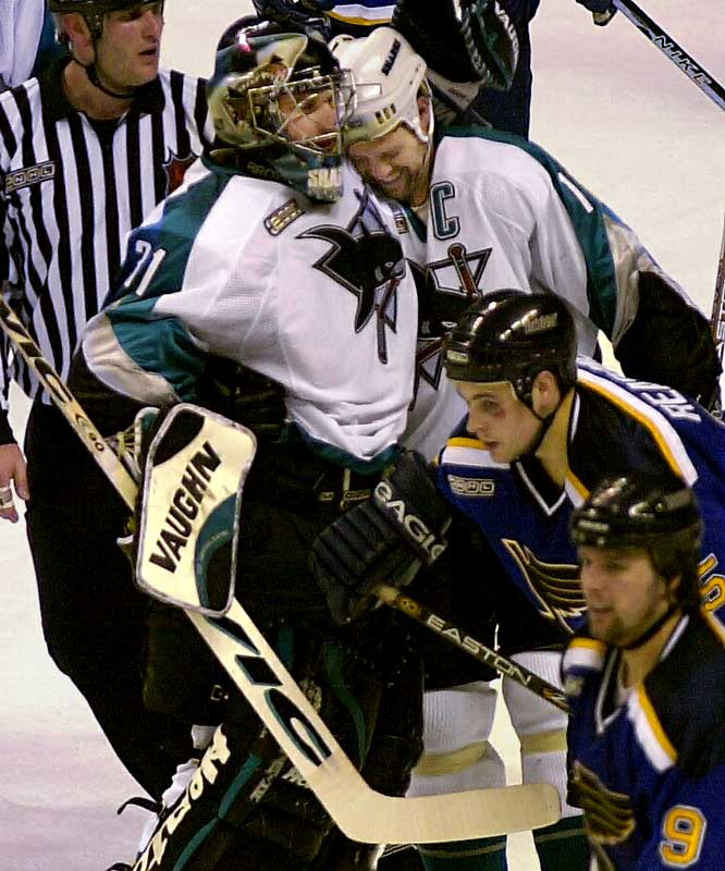 The Presidents Trophy-winners (114 points) were expected to make quick work of the Sharks (87), but instead dug themselves into a 3-games-to-1 pit that they could not escape, even after chasing immortal San Jose netminder Steve Shields in Game 6. Owen Nolan's 65-foot goal late in the first period of Game 7 portended St. Louis' doom.