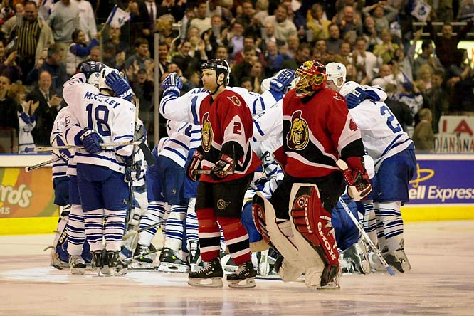 The second-seeded Senators rolled to 109 regular-season points, but getting over the playoff hump once again proved maddeningly elusive against the seventh-seed, 90-point Maple Leafs. Toronto netminder Curtis Joseph did not allow his first goal until the final four minutes of Game 3 as the Sens were swept. It was their third consecutive first-round loss.