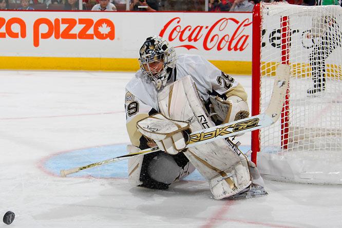 Marc-Andre Fleury gave up a total of just five goals in Pittsburgh's four-game sweep of Ottawa, the Penguins first sweep in 16 years and their first playoff series win since 2001.  Fleury boasts a .955 save percentage through the first round.