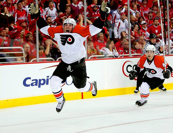 Joffrey Lupul's only goal in the postseason was the Flyers biggest thus far, an overtime game-winner in Philly's Game 7 victory over Washington.  Daniel Briere, right, who leads the playoffs in scoring with 6 goals and 5 assists, got the assist on Lupul's goal.