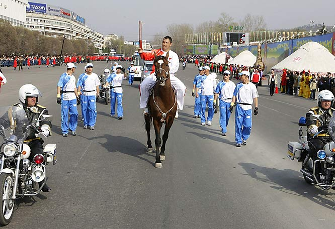 The torch took on all forms of transportation to make its way through Almaty, a city that welcomed the flame for the first time ever. Skis, motorcycles, horses -- you name it, the flame took it.