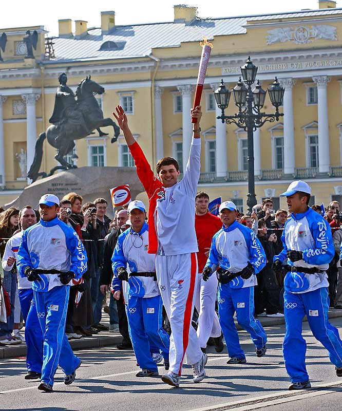 After a grand ceremony at Palace Square, the torch began the third leg of its journey in St. Petersburg, Russia.