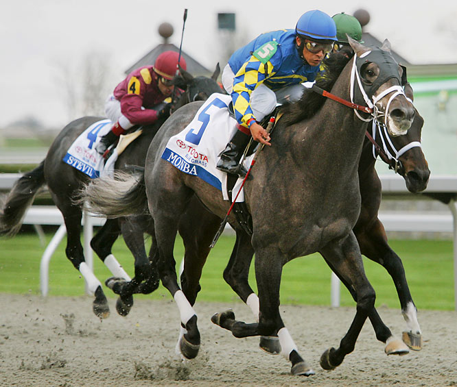 """With the Kentucky Derby three weeks away, Monba beat stablemate Cowboy Cal by a neck in the Blue Grass Stakes on Saturday. """"Both horses showed they belong at the highest level and both horses' pedigree suggests that they'll run a mile and quarter,"""" said trainer Todd Pletcher."""