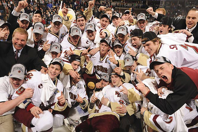 Nathan Gerbe scored twice and had two assists as Boston College won the NCAA hockey championship with a 4-1 victory over Notre Dame in Denver.