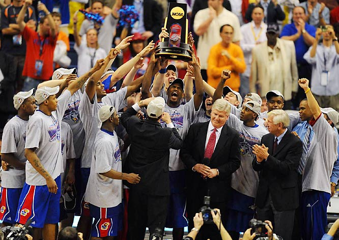 Tens of thousands of fans lined the downtown streets of Lawrence, Kan., on Sunday to honor the national basketball champion Jayhawks. Kansas beat Memphis 75-68 to win its first title since 1988.