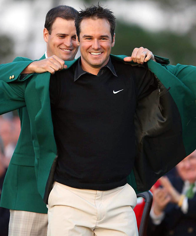 "Trevor Immelman held his nerve to shoot a final-round 75 and win the 2008 Masters by three shots over Tiger Woods, who also finished second in 2007. ""Here I am, after missing the cut last week, the Masters champion,"" Immelman said. ""It's the craziest thing I've ever heard of."""
