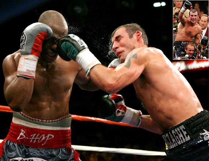 The Pride of Wales, Calzaghe kept his undefeated streak alive after defeating the wily veteran Hopkins in a split-decision victory Saturday night. Calzaghe improved to 45-0 after battling back from an early round knockdown.