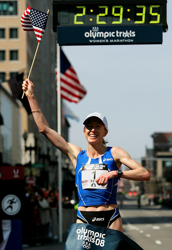 Deena Kastor is on her way to compete for another Olympic medal. On Saturday, the 2004 bronze medalist won the U.S. Olympic trials marathon in Boston in two hours, 29 minutes and 35 seconds.