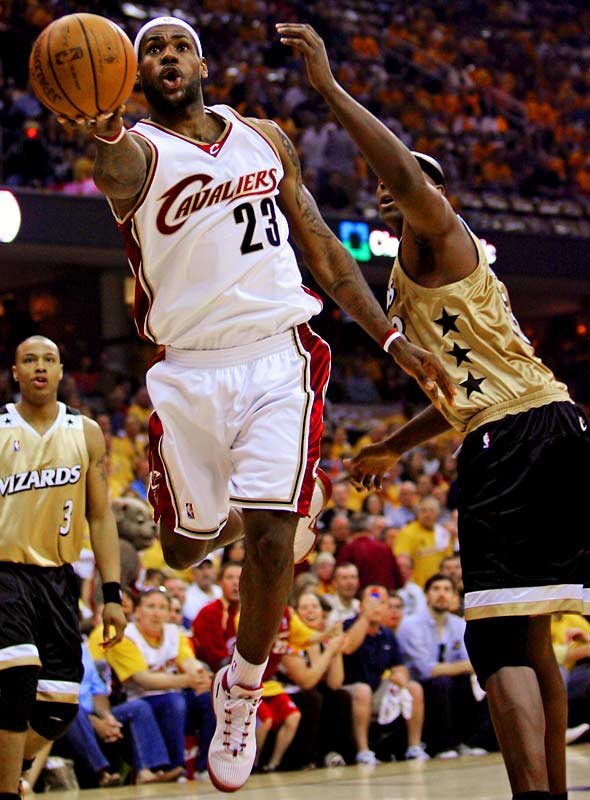 "After DeShawn Stevenson called LeBron James ""overrated"" and Gilbert Arenas rejoiced at the matchup between the Wizards and the Cavaliers, LeBron James silenced his critics once again. He scored 32 points, including four crucial points down the stretch, to seal the Game 1 victory as the Eastern Conference playoffs got underway."