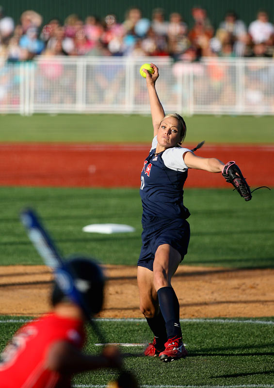 Jennie Finch added another softball accolade to her resume: a perfect game. The U.S. softball team defeated Louisiana-Lafayette 2-0 on Saturday during the pre-Olympic exhibition tour, extending Finch's record to 5-1 on the tour so far.