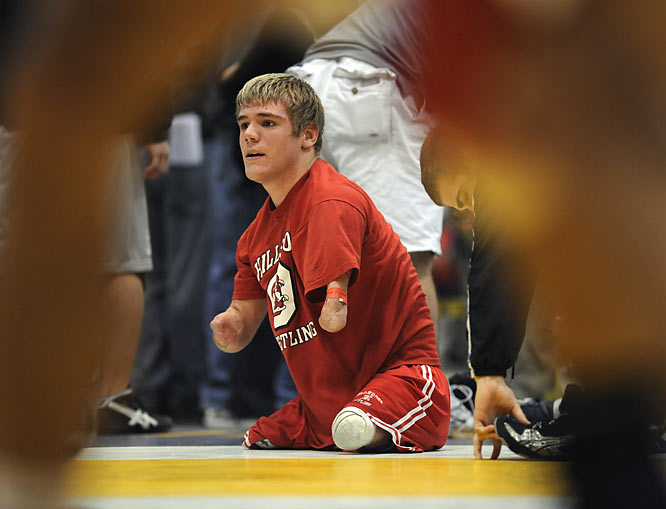 Looks can be deceiving, especially in the case of Dustin Carter. The 103-pound wrestler from Hillsboro (Ohio) High had to have each of his limbs amputated when he was 5 after contracting a rare, life-threatening blood disorder. His physical stature has hardly taken away from his athletic career, though. Before taking a rare 1-0 loss at the National High School Coaches Association Senior Nationals in Virginia Beach, Carter owned a 41-2 record on the season and had reached the state championships. He finished third in his school's region and inked his name among the state's best wrestlers.