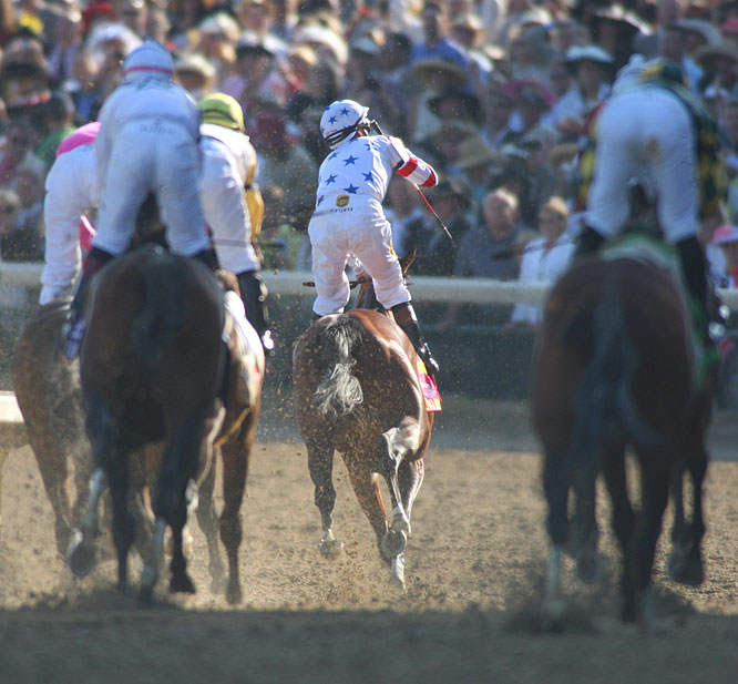 A view the other 19 jockeys saw as Big Brown and Desormeaux crossed the finish line.