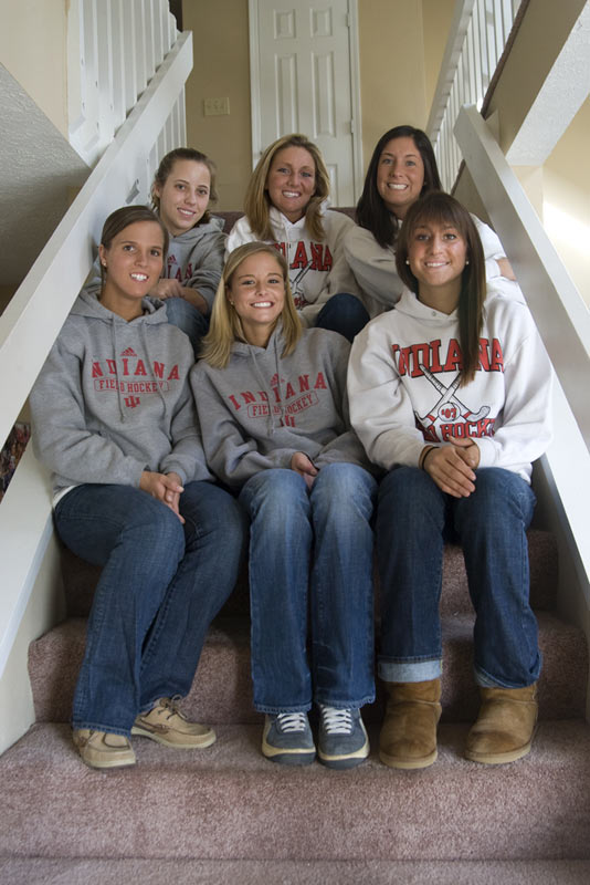 Thanks to Facebook, these girls are used to posing for group photos (note the bright smiles). The photogenic six  host weekend get-togethers with their neighbors, who happen to be 10 Hoosier baseball players. Stuckey (top left), represents another IU Athletics team: She is a standout singles player for the women's tennis team.