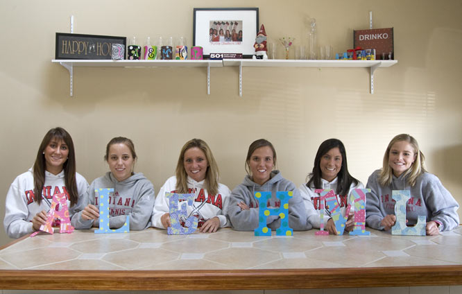 Welcome to the home of the Hoosiers field hockey squad. Off the field, the girls like to hang out, watch TV and create handcrafted initials (that spell nothing when combined). <br><br>From left to right, the residents of the house are Alina Valenti, Lindsey Stuckey, Elizabeth Schmidt, Haley Funk, Meg O'Connell and Haley Funk.