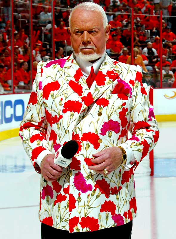 It looks like hockey commentator Don Cherry, shown here before Tuesday's Penguins-Flyers game, just looked into a mirror.