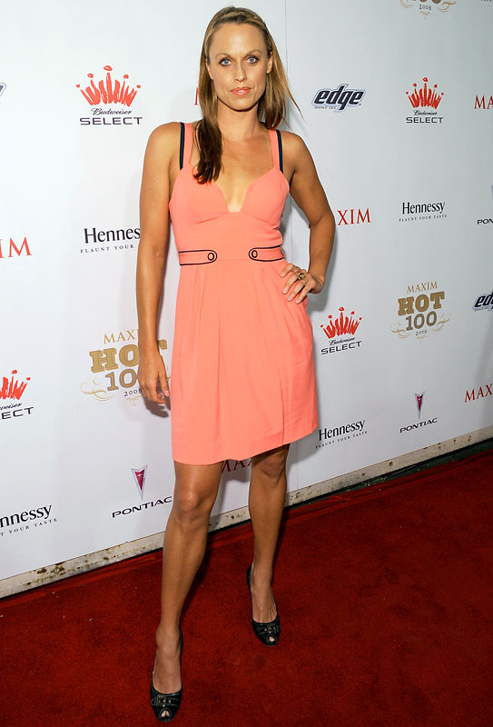 Olympic swimmer and Playboy cover model Amanda Beard strikes a pose at Maxim's 2008 Hot 100 Party on Wednesday.