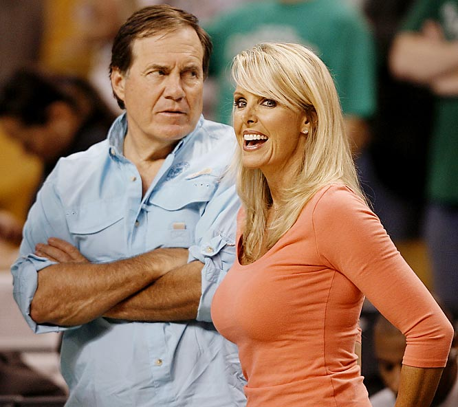 Bill Belichick, shown here with girlfriend Linda Holliday during Wednesday's Pistons-Celtics game in Boston, looks like he just saw David Tyree.
