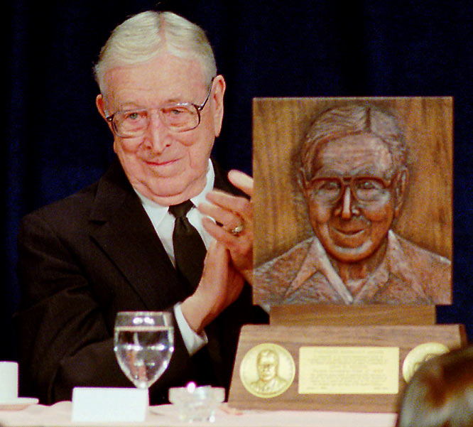 Always present on the college basketball scene even after his retirement in 1975, Wooden won the NCAA Theodore Roosevelt Award given to distinguished former athlete or coach who exemplifies the ideals and purposes of college athletics.