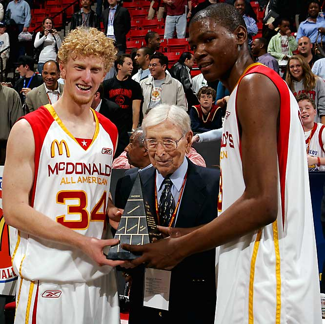 "Wooden often met with upcoming college prospects, like Chase Budinger and Kevin Durant, shown here during the McDonald's All American High School game in 2006.  Ex-UCLA star Kevin Love called him  ""Not only the best coach of any coach of all time, but he's also one of the best human beings you'll ever meet."""