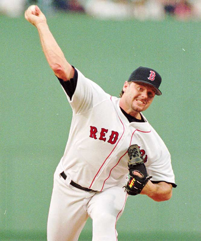 Red Sox pitcher Roger Clemens beats the Yankees for his 200th career win.