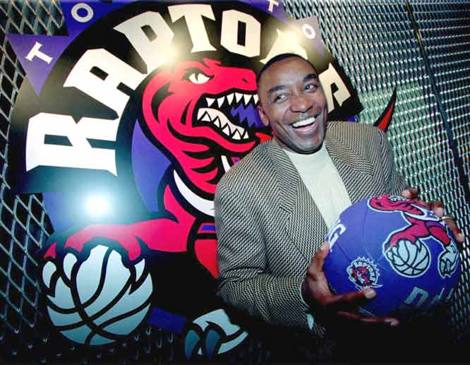 The Toronto NBA franchise -- led by first-time G.M. Isiah Thomas -- unveils its team name (Raptors) and logo.